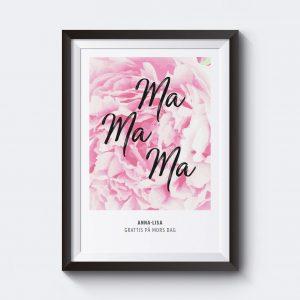 Personlig poster till mamma på mors dag med pion