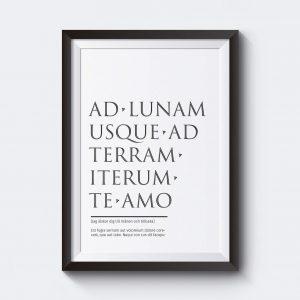 Personlig tavla med personlig text på latin