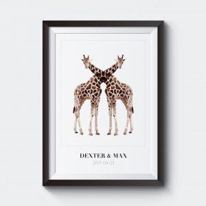Personlig namntavla för tvillingar. Giraffer.