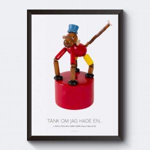 Personlig affisch med apa i trä. Leksak gammal.