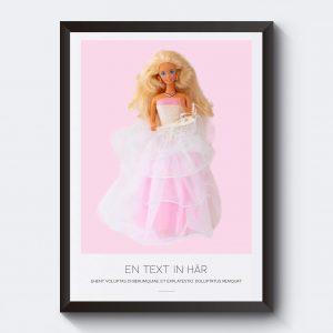 Personlig poster med egen text. Barbie med bröllopsklänning.