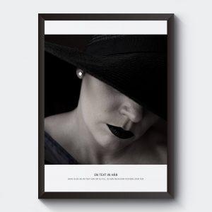 Gör tavla personlig med egen text. Svartvit bild kvinna.